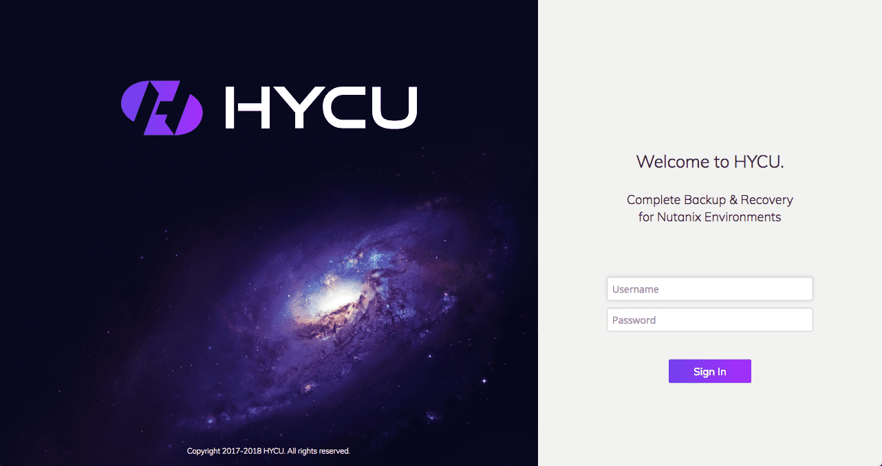 HYCU Deployment - Initial Signon